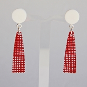 red weave long drop earrings