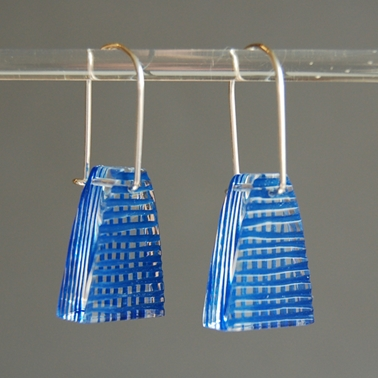blue weave short drop earrings