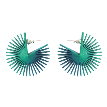 Wheel Earrings Green
