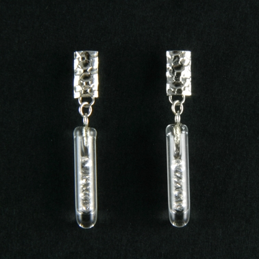 Small White CZ Drop Etched Earrings
