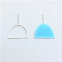 Light turquoise enamel stud + silver wire shape stud