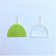 Yellow green enamel stud + silver wire shape stud