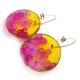 Yellow & Pink Hydrangea Disc Earrings (side)