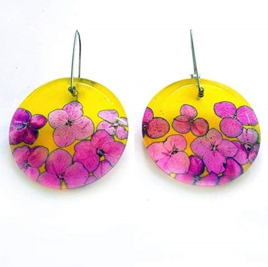 Yellow & Pink Hydrangea Disc Earrings