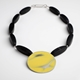 Yellow Buoy necklace with Onyx
