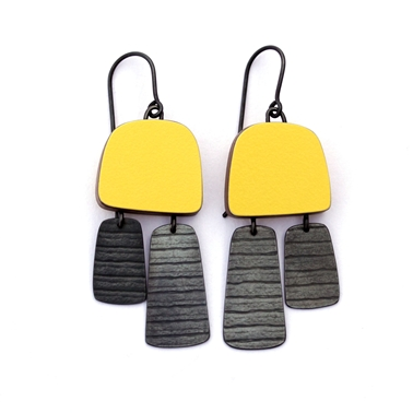 Yellow two part stripe earrings