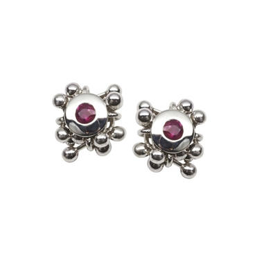 Ruby Cluster Stud Earrings