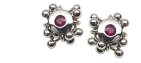 Yen - Molecule Ruby Cluster Earrings